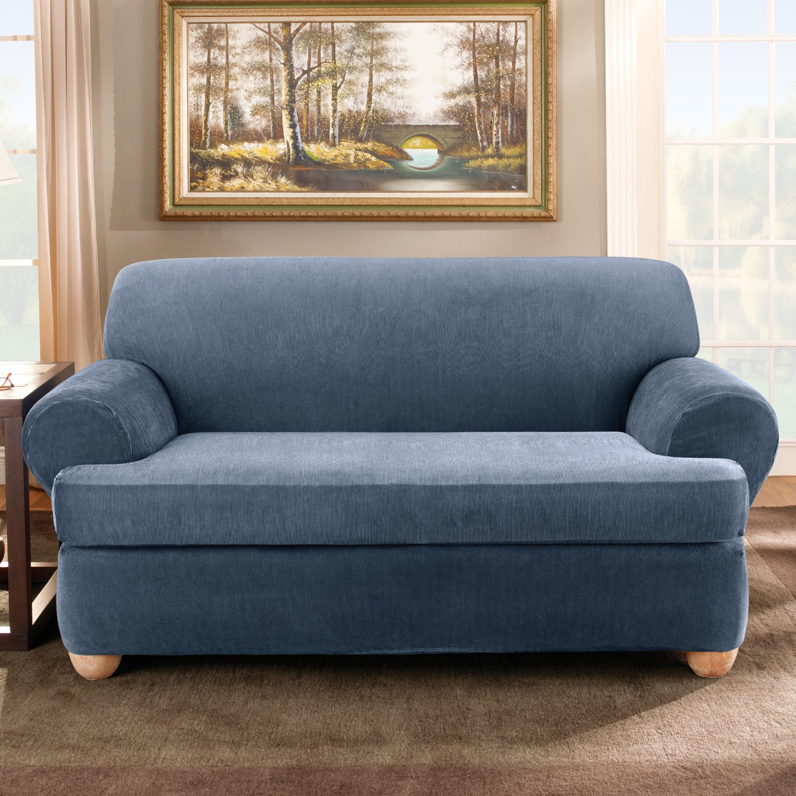 navy sofa cover bonded leather sectional bed blue linen slipcovered at