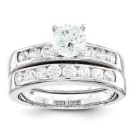Sterling Silver 2-Piece CZ Wedding Ring Set - Walmart.com