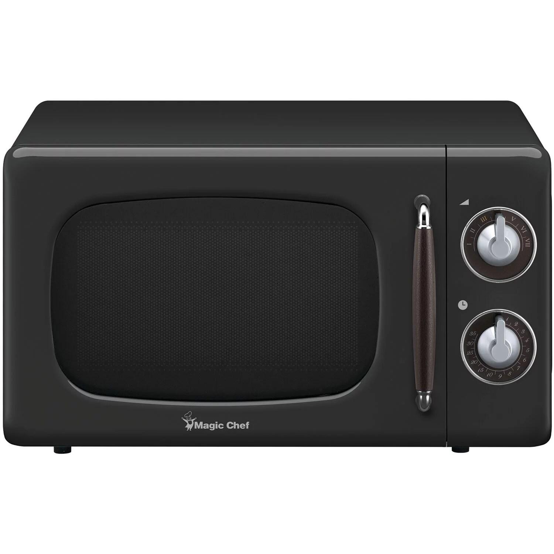 magic chef 0 7 cu ft 700w retro countertop microwave oven in black