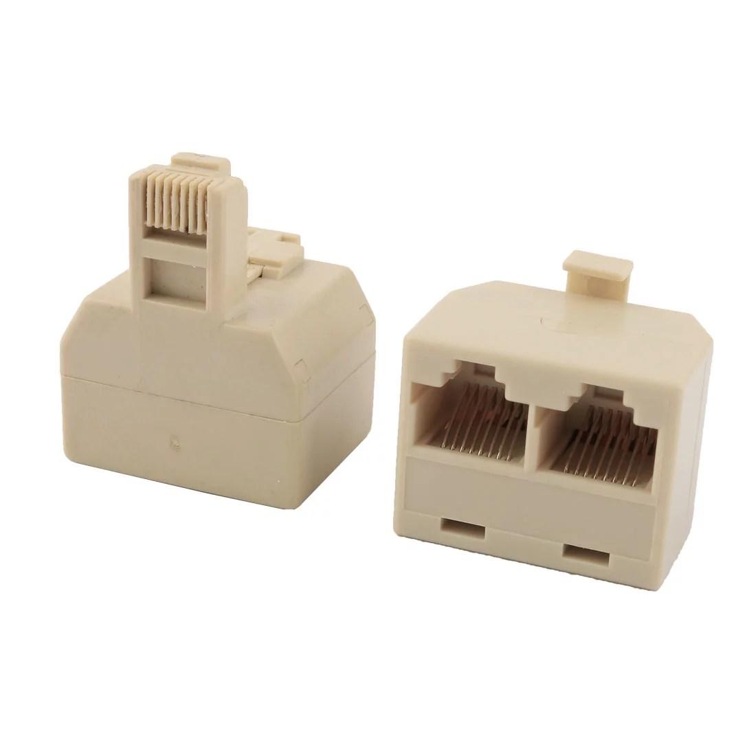 hight resolution of rj45 8p8c keystone 1 male to 2 female port network cable splitter beige 2pcs
