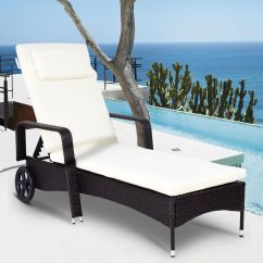 Outdoor Chaise Lounge Chairs With Wheels Hag Posture Chair Costway Recliner Cushioned