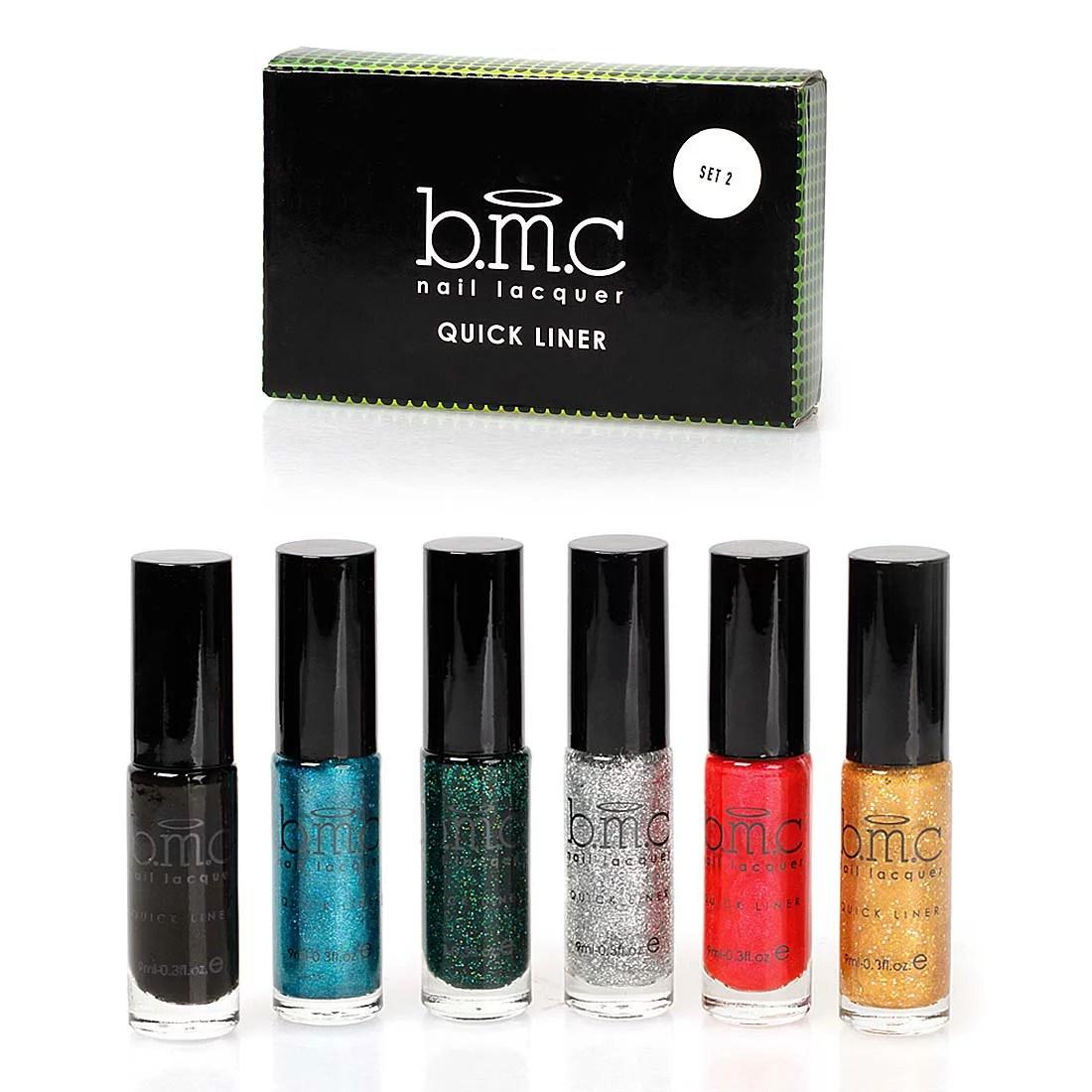 Bmc 6pc Long Striper Dotting Brush Diy Nail Art Polishes Quick Liner Sets Walmart