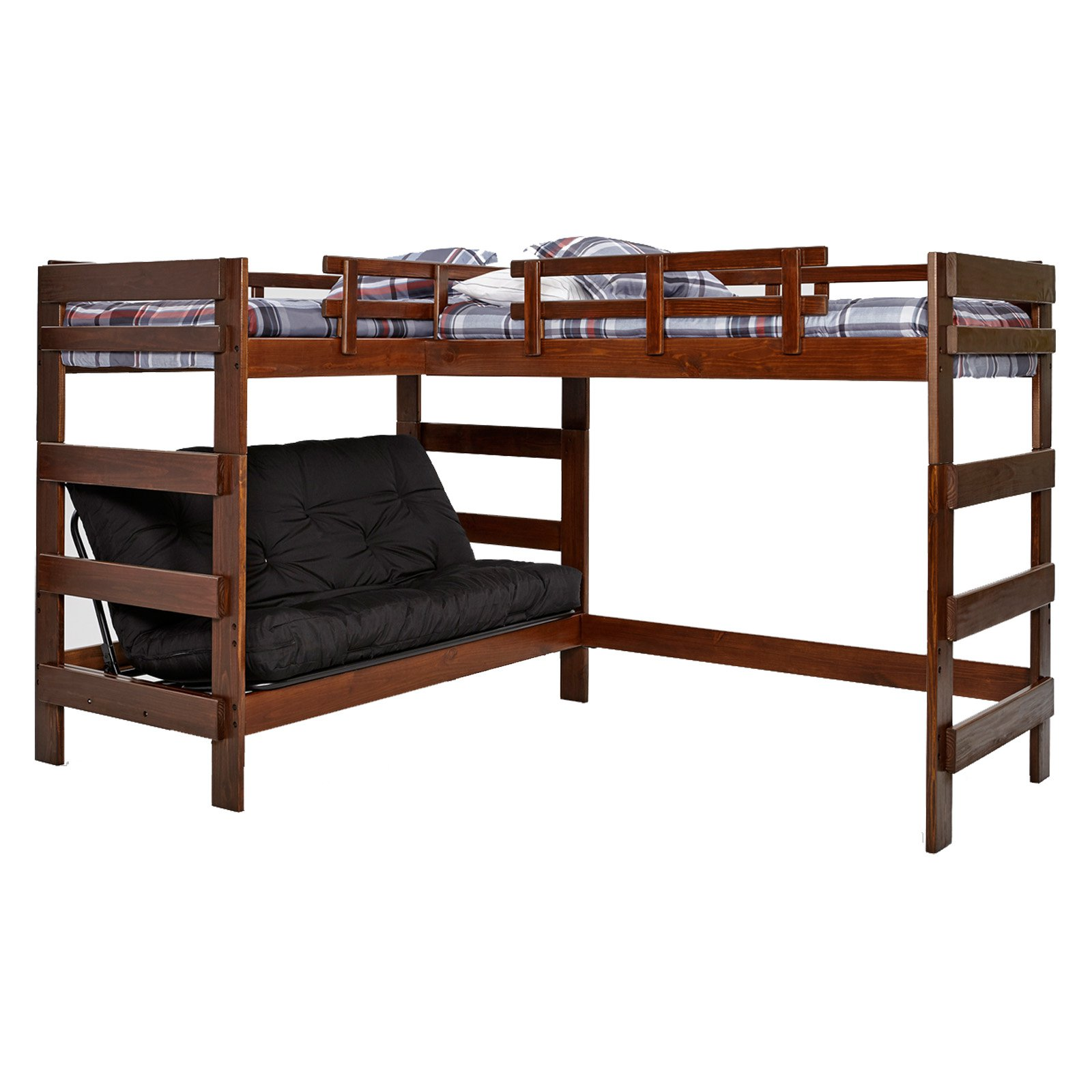 Woodcrest LShaped Twin Over Futon Bunk Bed with Extra