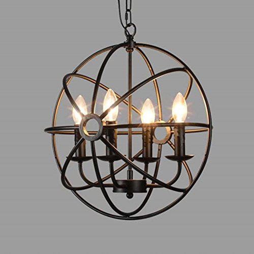 metal round cage pendant lights baycheer industrial vintage retro black iron global pendant lamp fixture hanging lighting chandelier with 4 e12 blub
