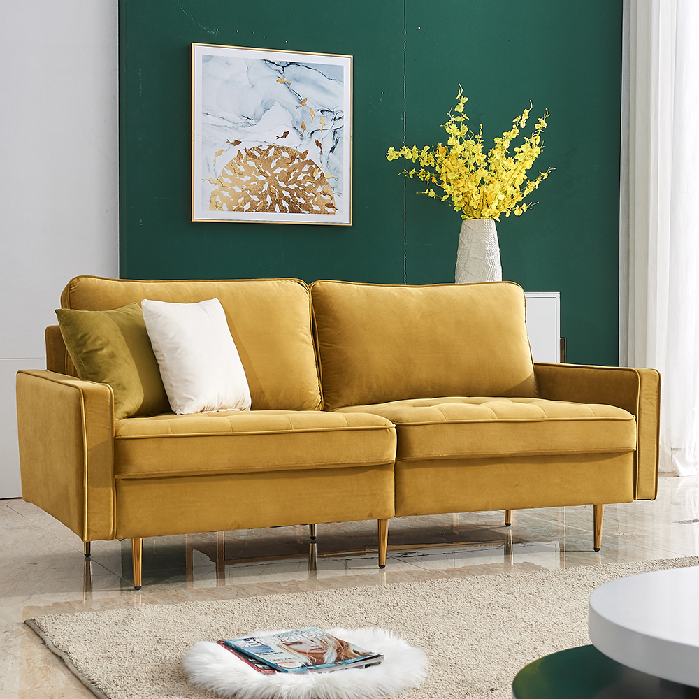 yellow velvet fabric loveseat sofa couch for living room contemporary sectional sofa and couch fabric mid century sofa with metal legs and 2 pillows