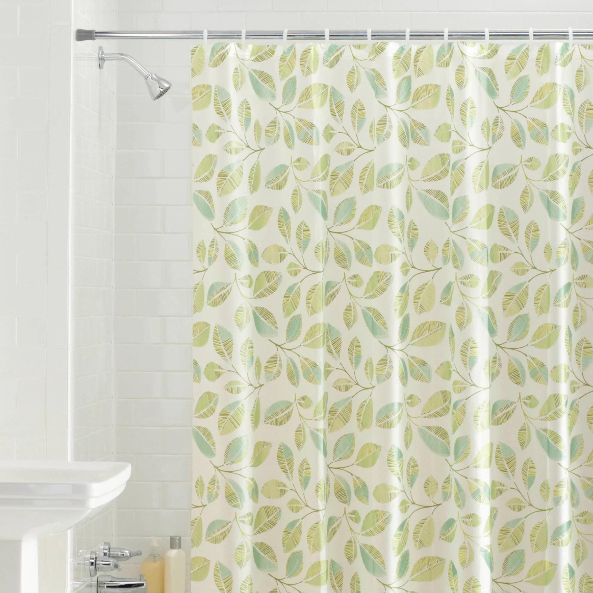 Mainstays Fiji Leaves PEVA Shower Curtain Green  Walmartcom