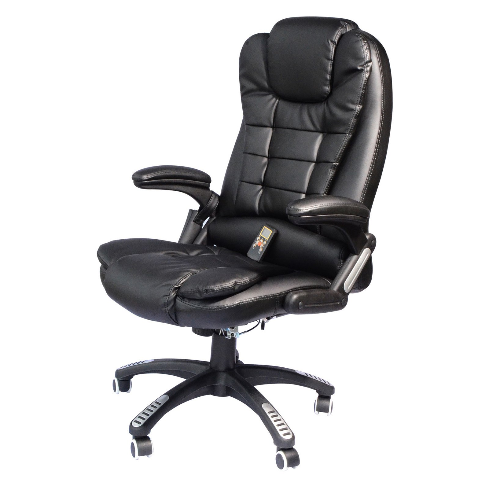 desk chair at walmart sure fit covers bed bath and beyond homcom executive ergonomic pu leather heated vibrating massage office com