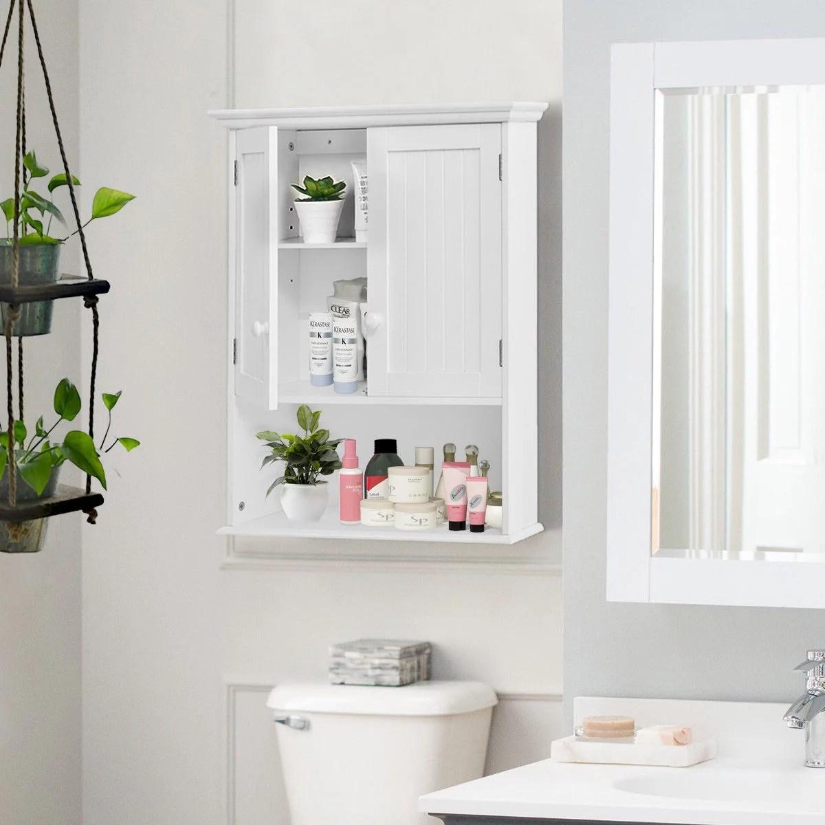costway armoire de salle de bains armoire murale armoire a pharmacie avec 2 porte et 3 etageres rangement dont 1 paroi reglable sans miroir couleur