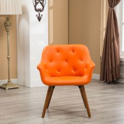 Orange Bucket Chair Outdoor Wooden Rocking Chairs Roundhill Vauclucy Contemporary Faux Leather Diamond Tufted Style Accent Walmart Com