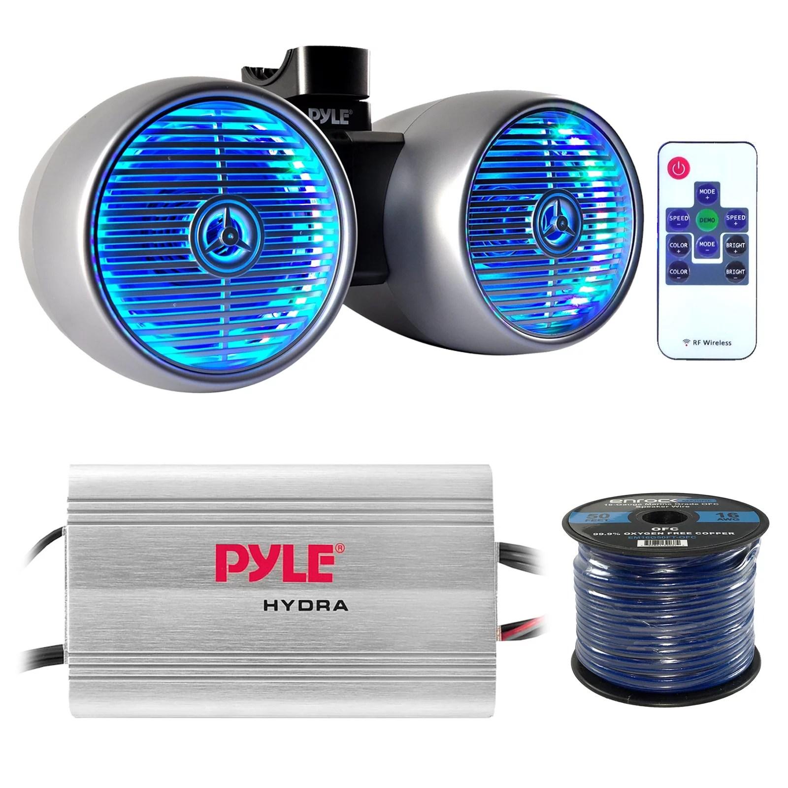 hight resolution of marine speaker and amp combo pyle plmrmp3a 4 channel 1200 watt waterproof mp3 power amplifier