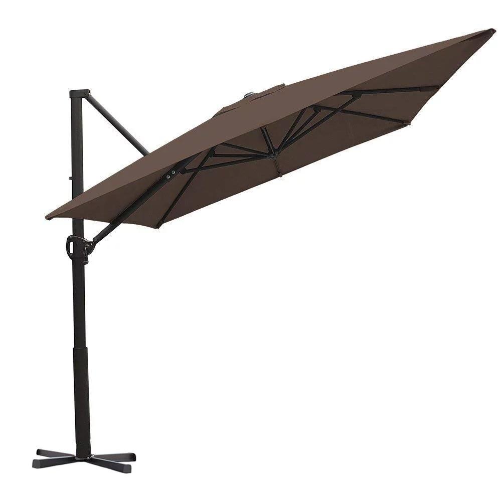 abba patio 8 x 10 feet rectangular cantilever umbrella with cross base cocoa walmart com