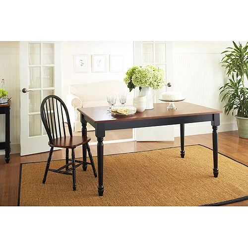 Better Homes and Gardens Autumn Lane Farmhouse Dining Table Black and Oak  Walmartcom