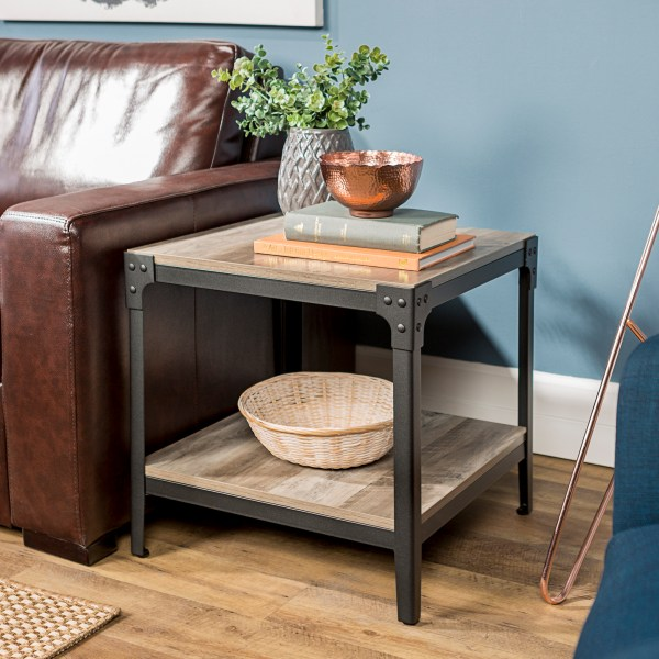 Angle Iron Rustic Wood End Table Set Of 2 - Grey Wash