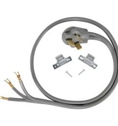 certified appliance accessories 90 1052 3 wire open eyelet 40 amp range cord 5ft [ 1500 x 1500 Pixel ]