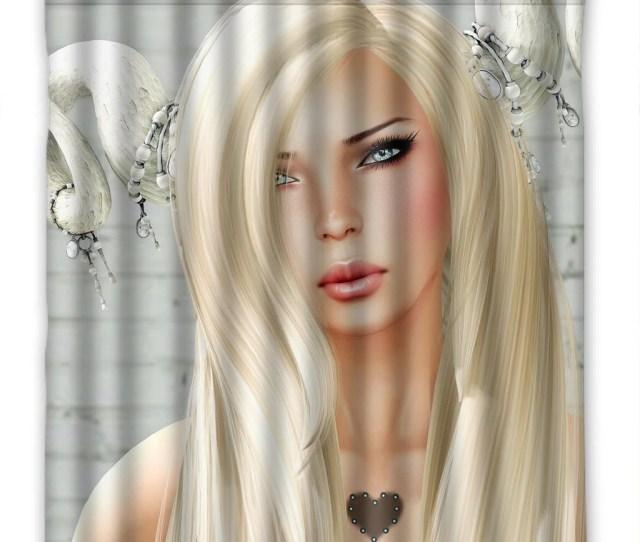 Deyou D Graphics Girls Fantasy Blonde Girl Hair Glance Horns Face Shower Curtain Polyester Fabric Bathroom