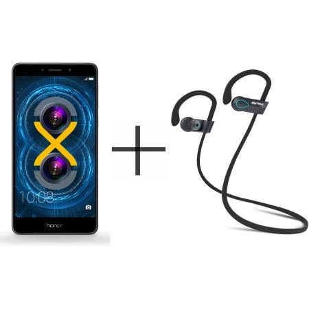 HUAWEI Honor 6X Berlin-L24 Unlocked GSM Smartphone and SHARKK Flex 20 Wireless Bluetooth Waterproof Headphones with Mic, Gray (Value Bundle)