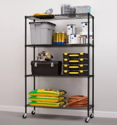 hyper tough 4 shelf commercial grade wire shelving system with bonus shelf liners and casters black walmart com [ 2000 x 2000 Pixel ]