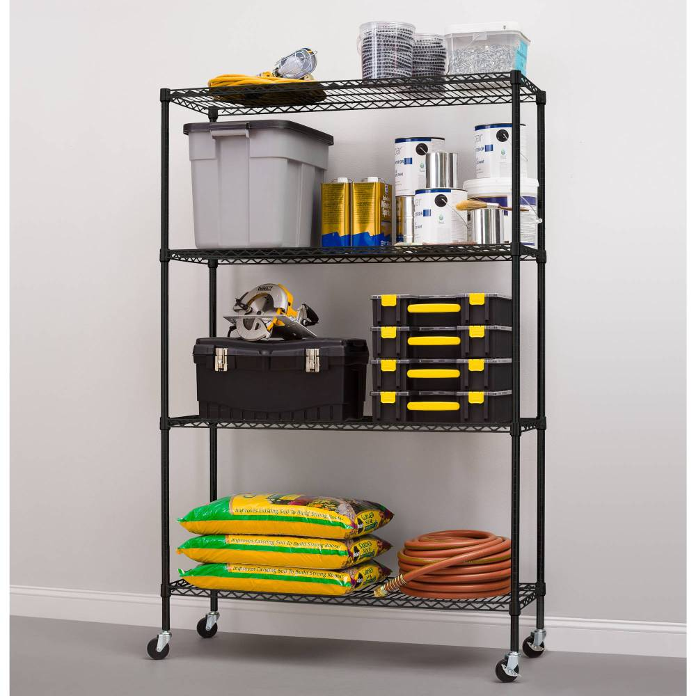 medium resolution of hyper tough 4 shelf commercial grade wire shelving system with bonus shelf liners and casters black walmart com