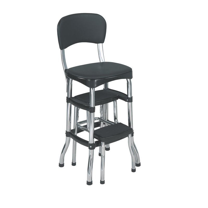 Cosco Black Retro Counter Chair  Step Stool  Walmartcom