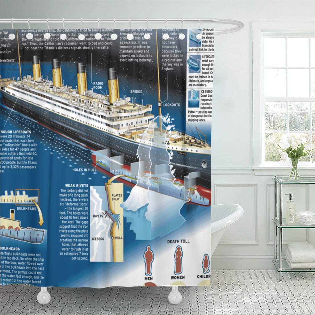 suttom patterns the rms titanic look faux chevron shower curtain 66x72 inch