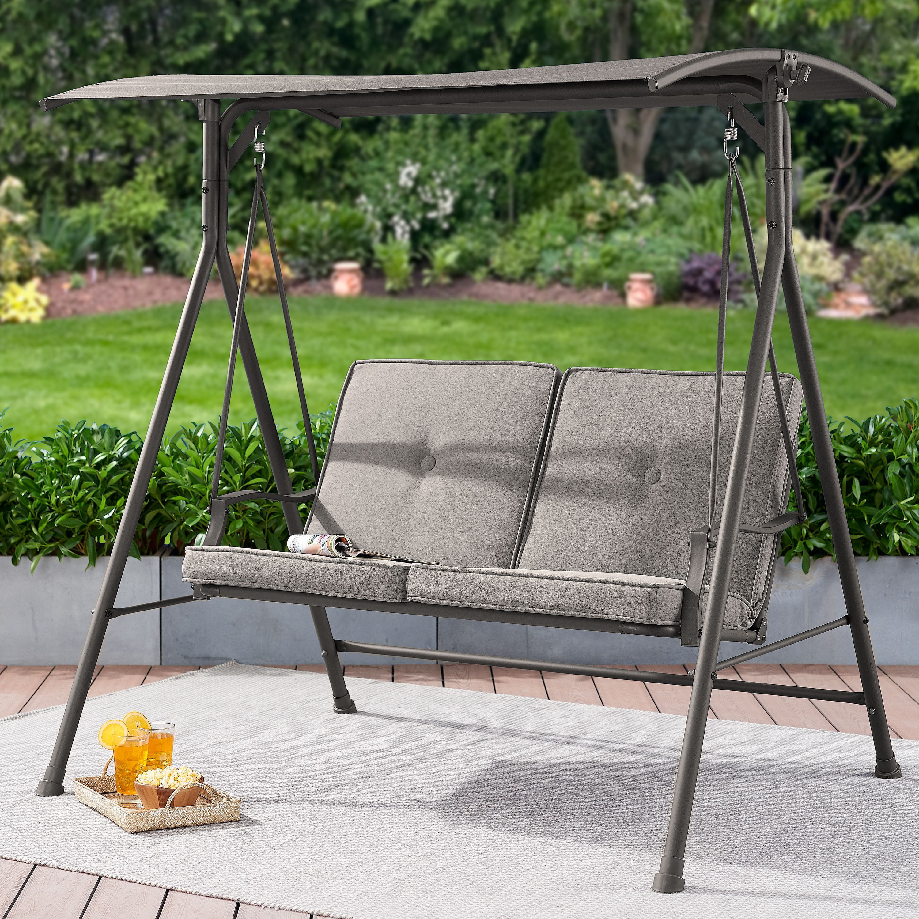 mainstays holten ridge two seat canopy patio swing with gray cushions walmart com