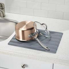 Kitchen Dish Drying Mat Utah Remodel Interdesign Chevron Silicone Countertop Large Gray Walmart Com