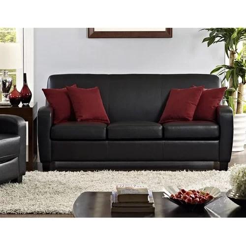 Mainstays Faux Leather Sofa Black  Walmartcom