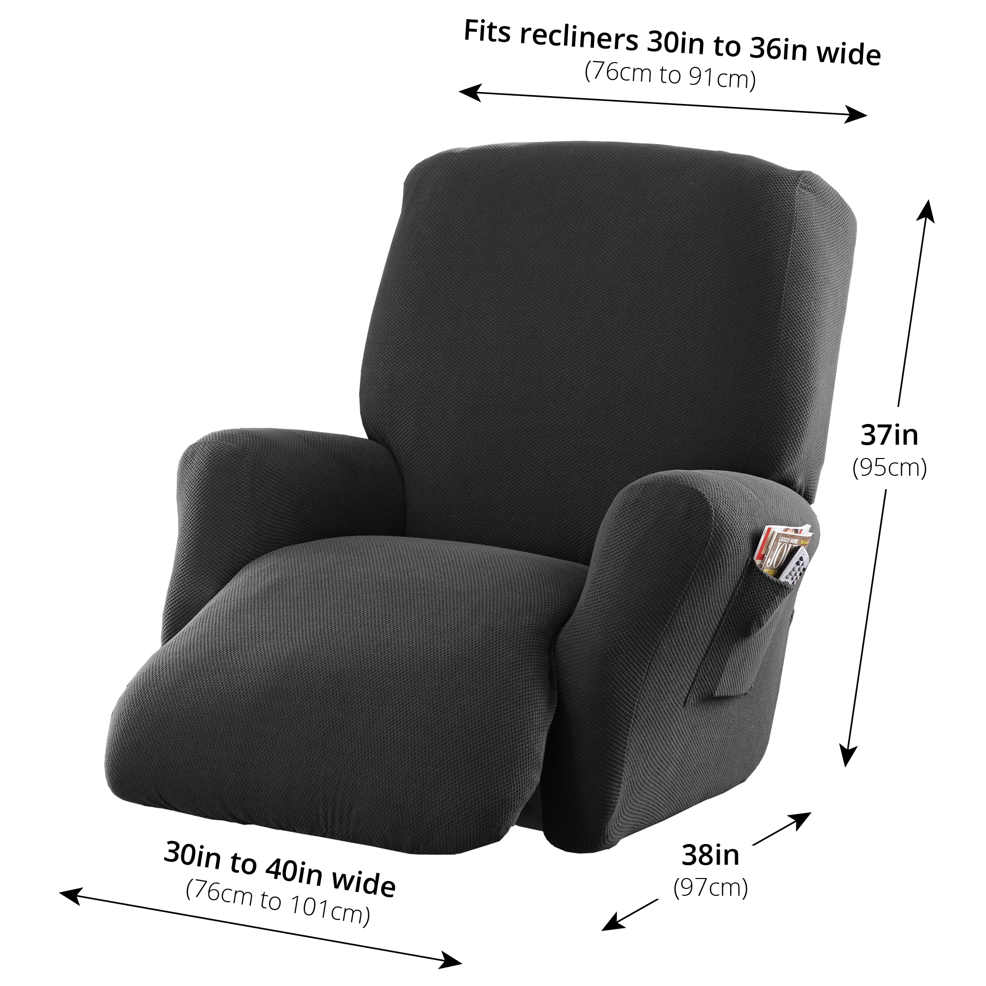 recliner chair covers grey wedding hull mainstays stretch pixel 4 piece furniture cover slipcover costa brown walmart com
