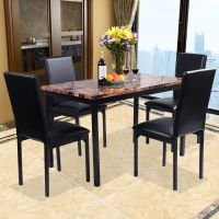 Costway 5 PC Dining Set Faux Marble Table And 4 Chairs ...