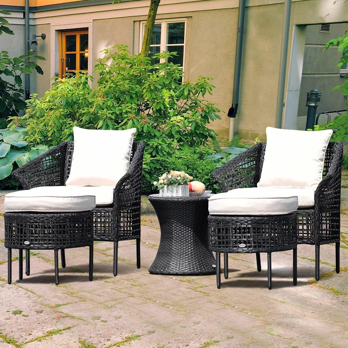 gymax 5 pcs patio rattan furniture