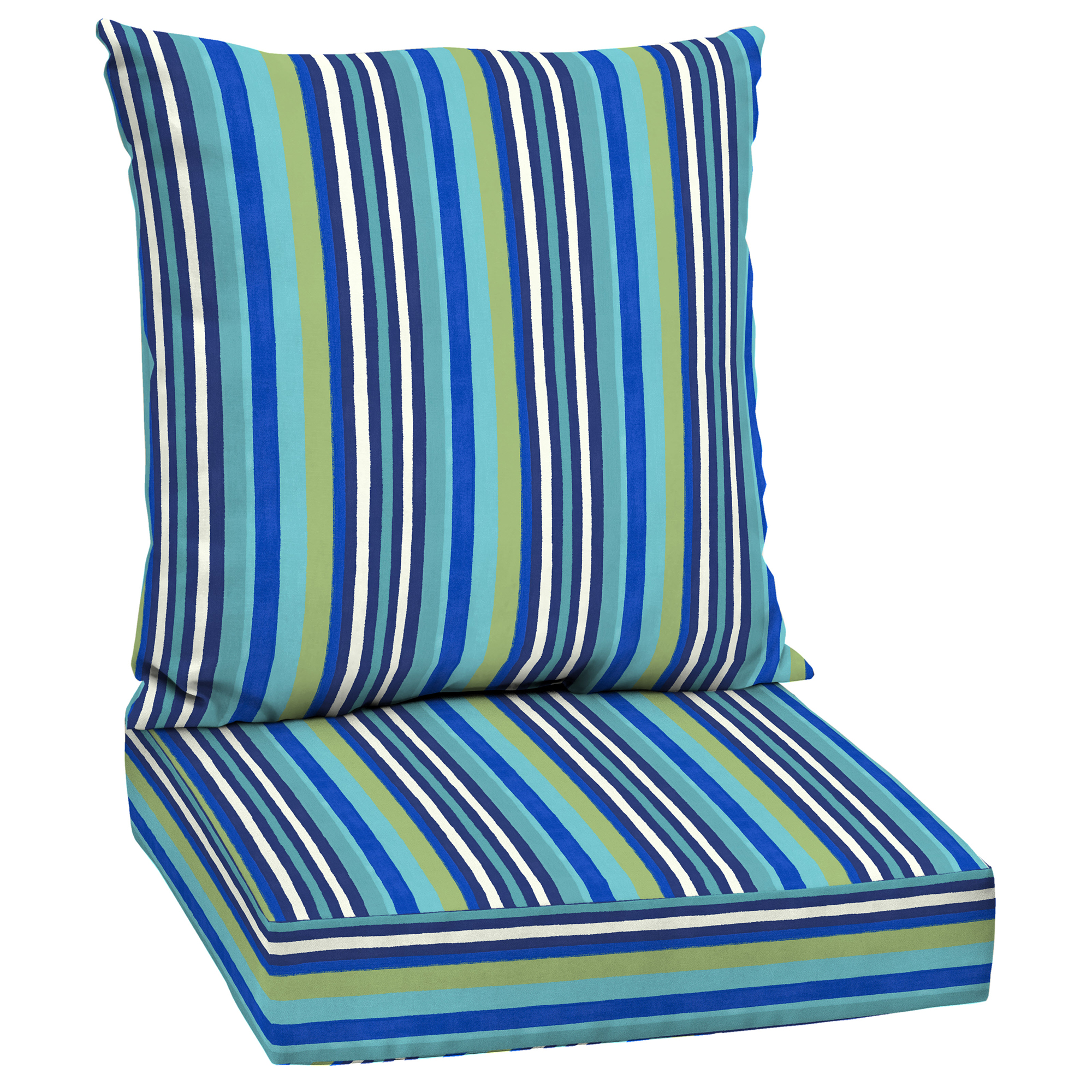 mainstays turquoise stripe 48 x 24 in outdoor deep seat cushion set