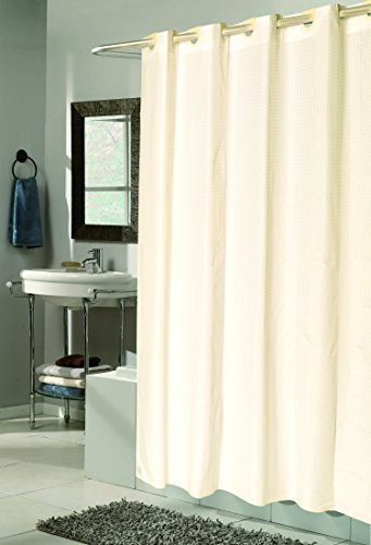 royal bath easy on no hooks needed stall size 54 x 78 fabric shower curtain with built in hooks ivory check
