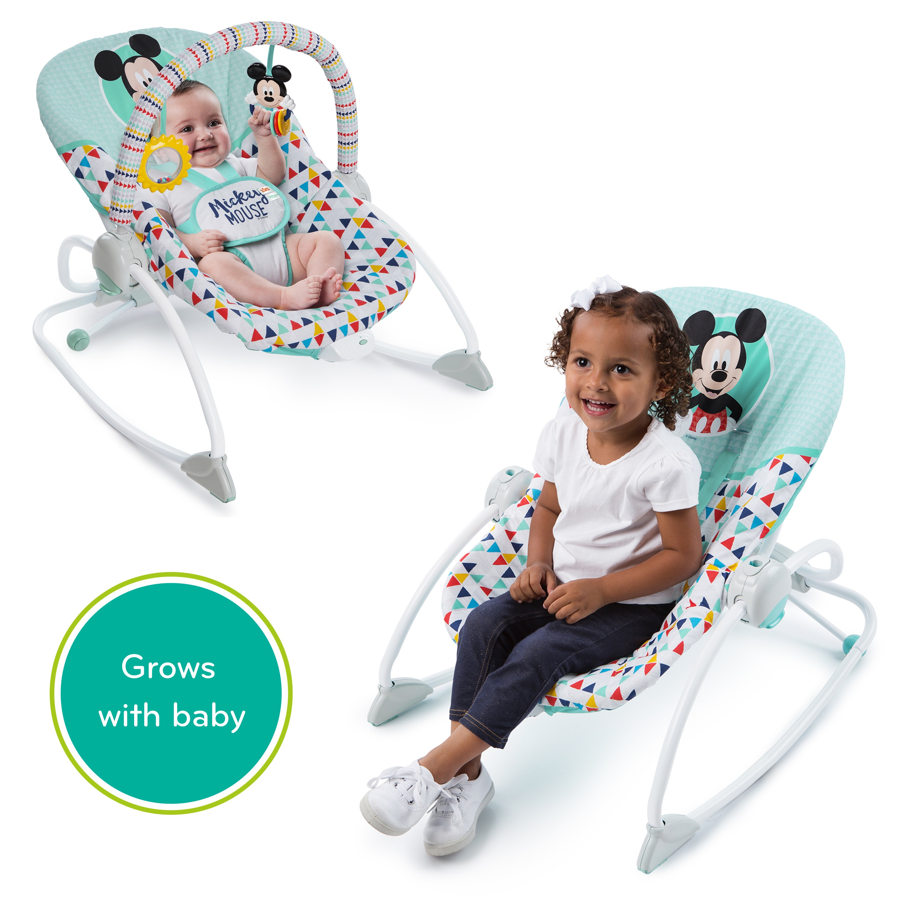 walker bouncing chair lite fishing disney mickey and rocker bundle walmart com
