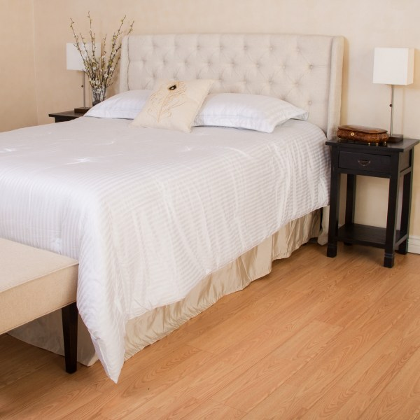 Noble House Franklin Tufted Eggshell Fabric Headboard