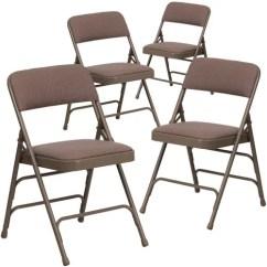 Cloth Padded Folding Chairs Ichair Massage Chair Hercules Hinged Fabric 4 Pack Beige Walmart Com