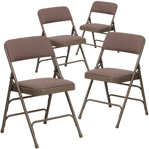 folding chair fabric rocking chairs at target hercules hinged padded 4 pack beige walmart com