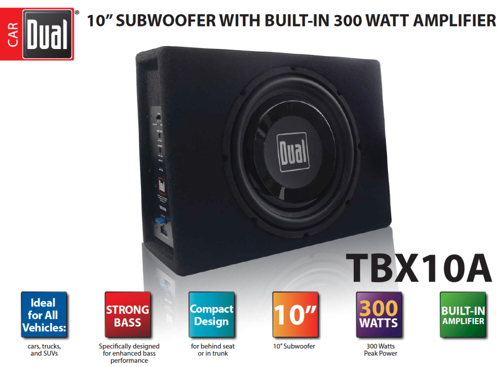 medium resolution of dual electronics tbx10a 10 inch shallow high performance powered enclosed subwoofer with built in amplifier