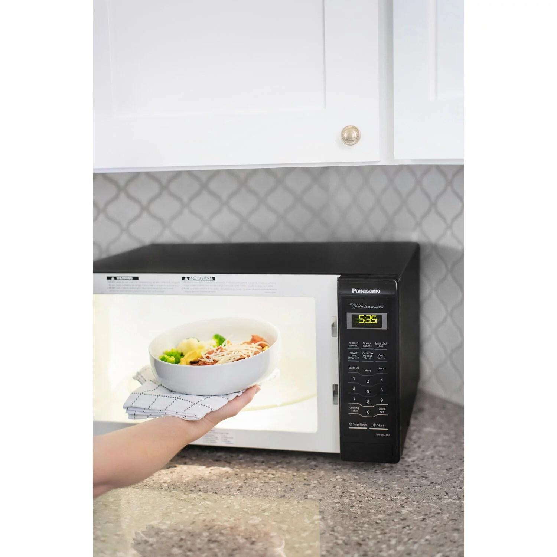 panasonic 1 6 cu ft 1250w countertop inverter microwave oven black walmart com walmart com