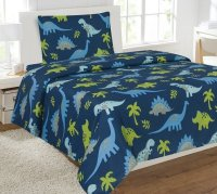 3pc DINOSAUR #3 Kids Microfiber Twin Size Bedding Bed Set