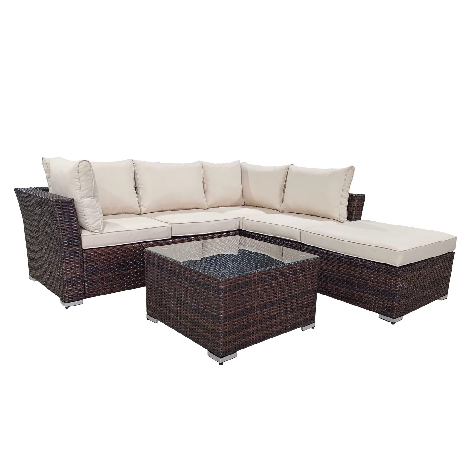 cloud mountain 4 piece patio conversation set outdoor furniture sectional sofa all weather wicker couch set with glass coffee table brown wicker for