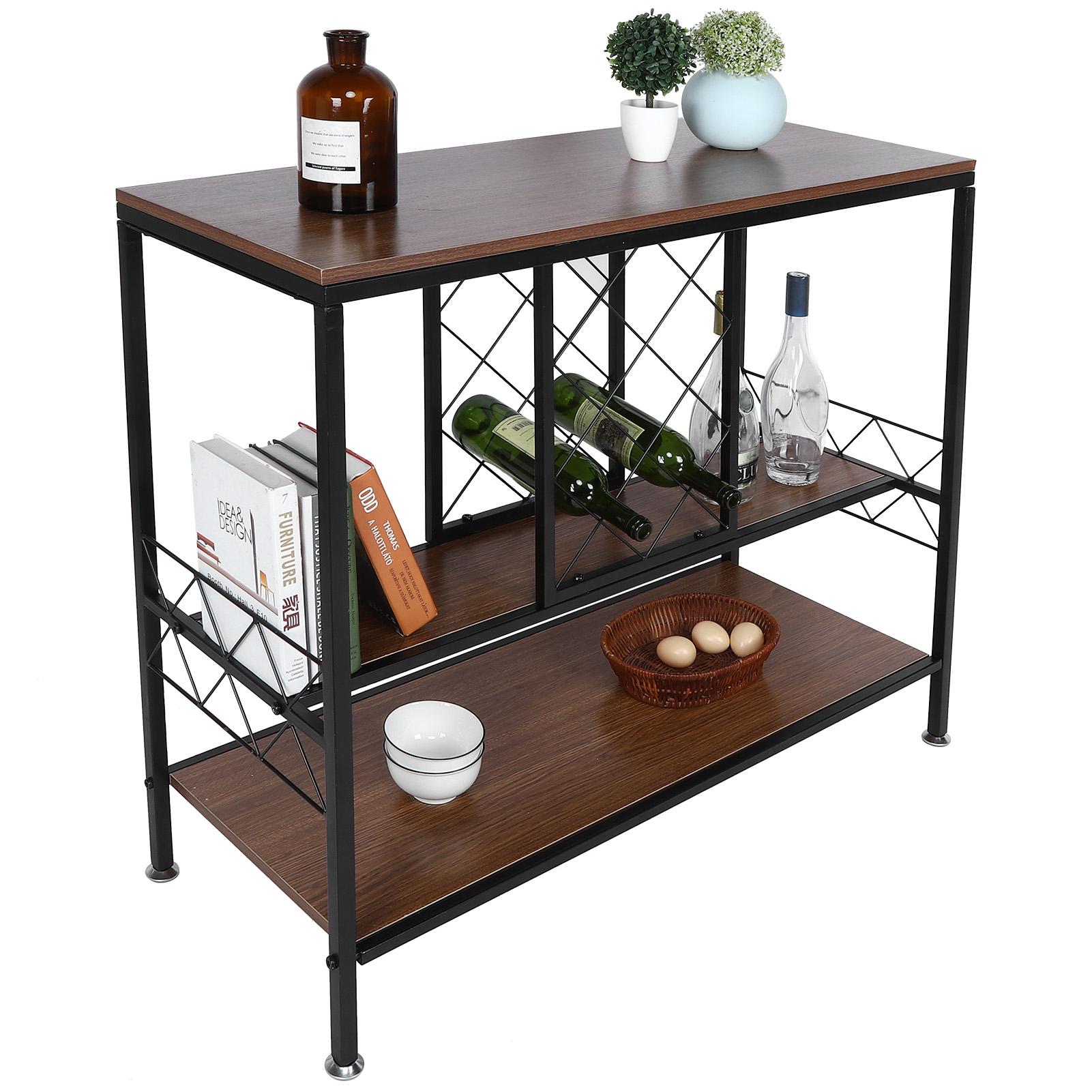 amonida 3 layer wine rack table with glass holder wine cabinets organizer home living room bar supply 3 layer wine table wine storage table