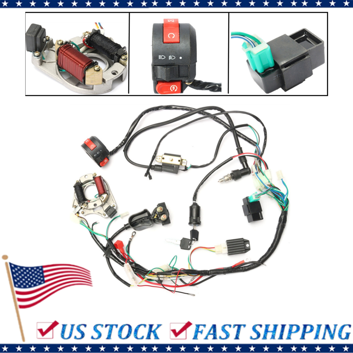 hight resolution of 1 set 50 70 90 110cc cdi wire harness assembly wiring kit atv electric start quad only fit for 2 stroke walmart com