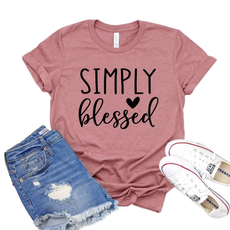 Simply Blessed Shirt Women's Faith T-shirt Christian Tshirt Thanksgiving Shirts Gift For Bff Inspirational Tee