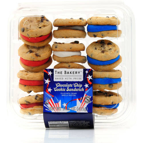 Patriotic Red White and Blue Chocolate Chip Sandwich