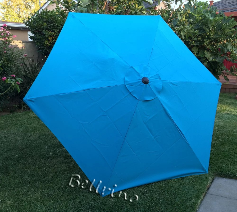 bellrino decor replacement strong thick umbrella canopy for 7 5 ft 6 ribs canopy only lake blue