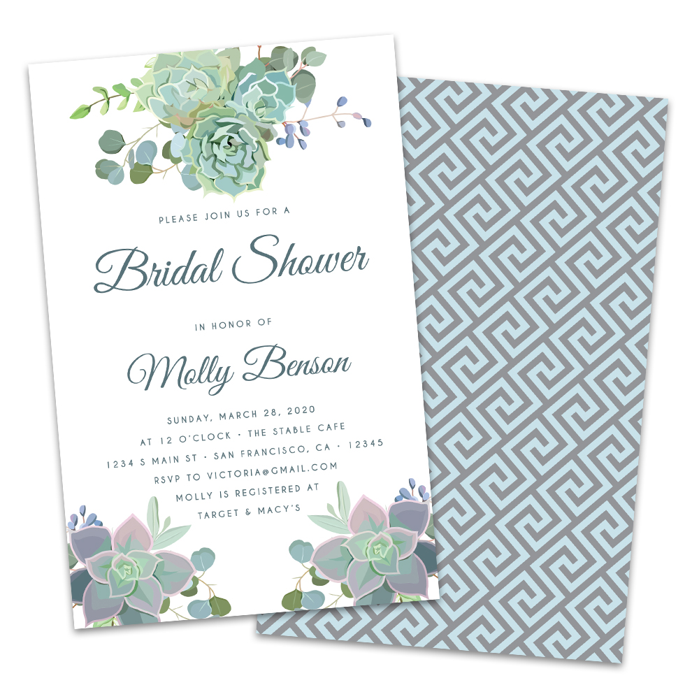 Or, check out this cute wedding shower invitation verbiage inspired by beauty and the beast, alice in wonderland and a classic fairytale ending:. Personalized Succulents Wedding Shower Invitation Walmart Com Walmart Com