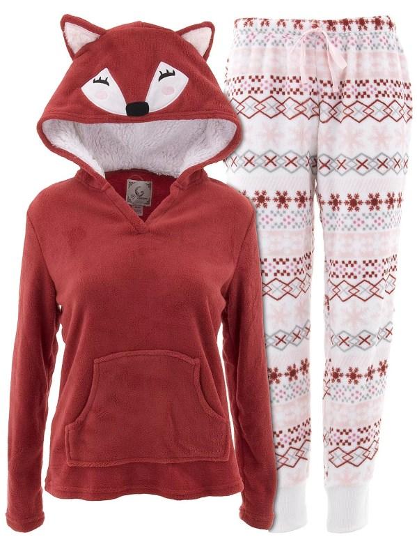 Pj Couture - Women' Fox Hooded Red Pajamas