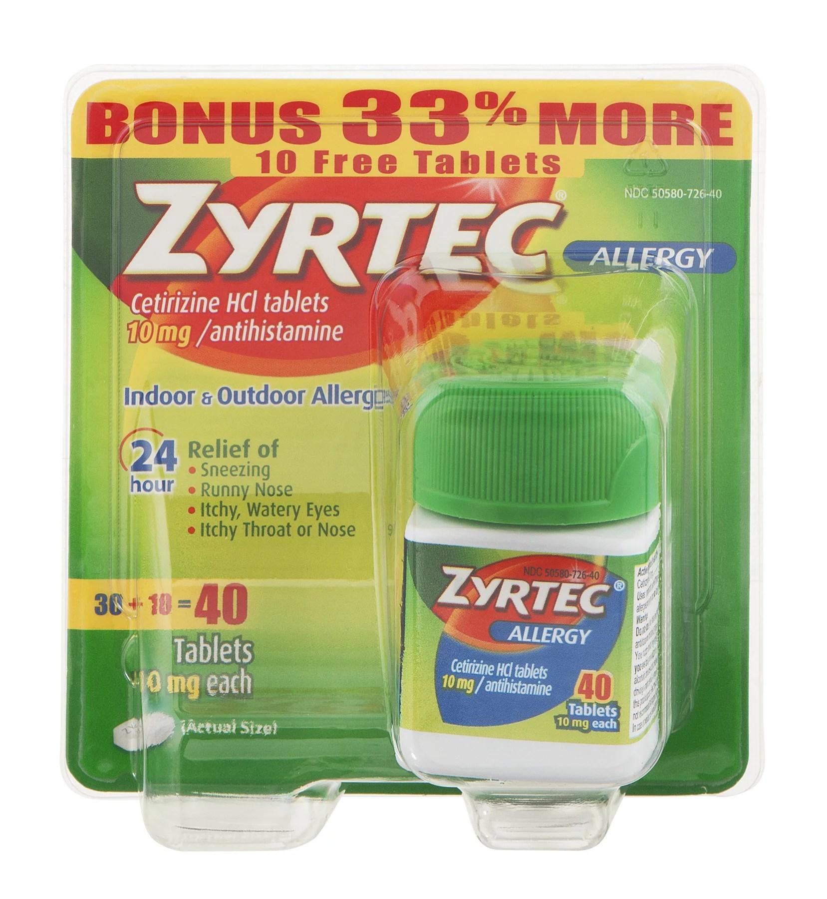 Zyrtec 24 Hour Allergy Relief Tablets 40 Ct - Walmart.com ...