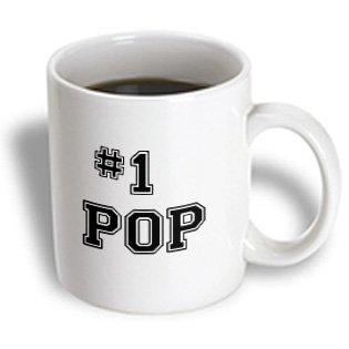 3dRose #1 Pop - Number One Pop - for worlds greatest and best dads - black text good for Fathers Day gifts, Ceramic Mug, 11-ounce