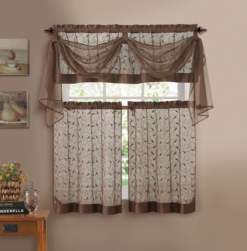 chocolate brown embroidered kitchen window curtain set 1 valance with voile scarf 2 tiers
